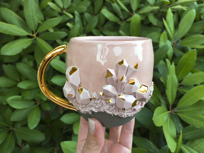 Rose Quartz Mug Coffee Mug Meraki. Crystal Mug Handmade Tea Mug
