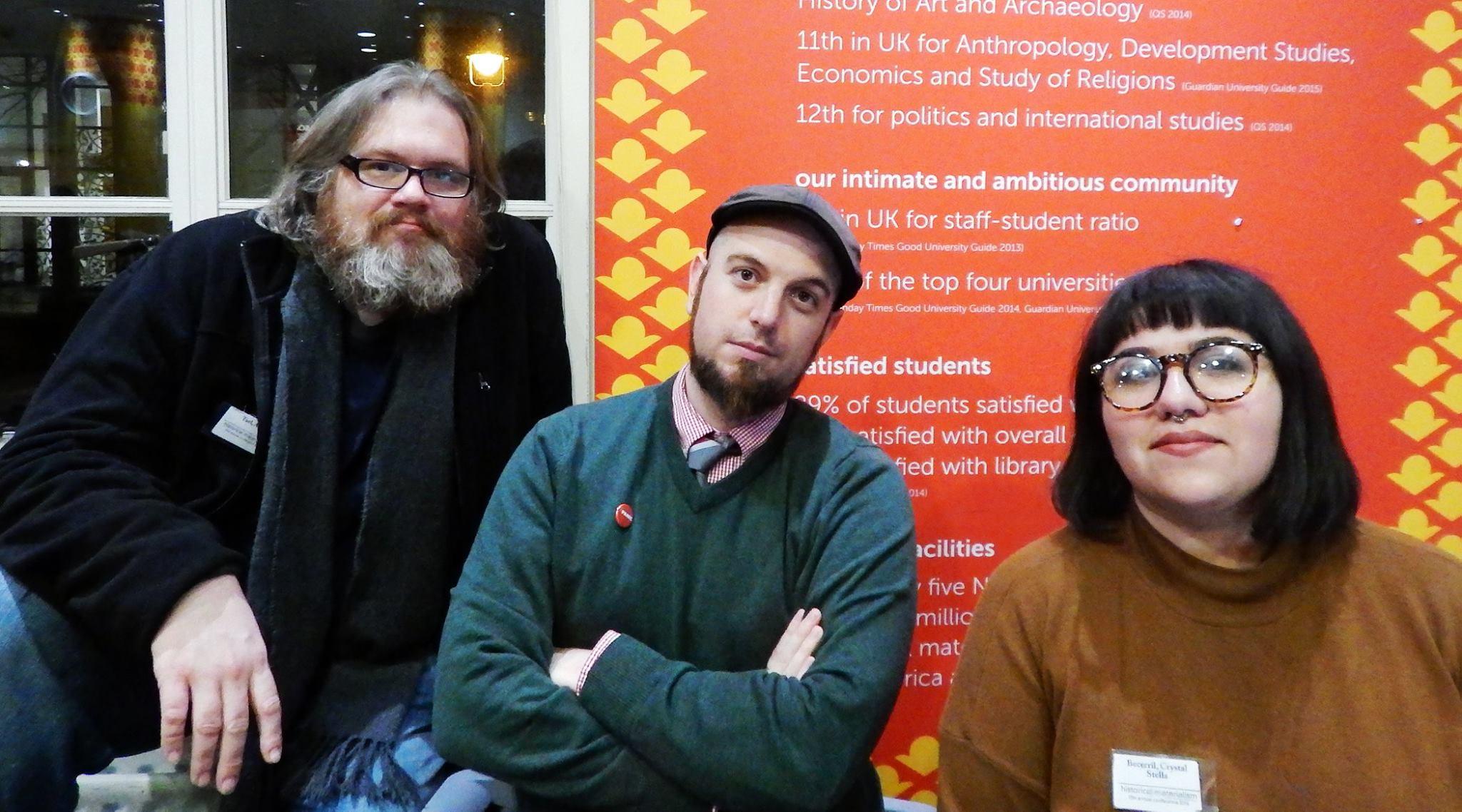 Adam Turl, Alexander Billet and Crystal Stella Becerril at Historical Materialism London (2016).