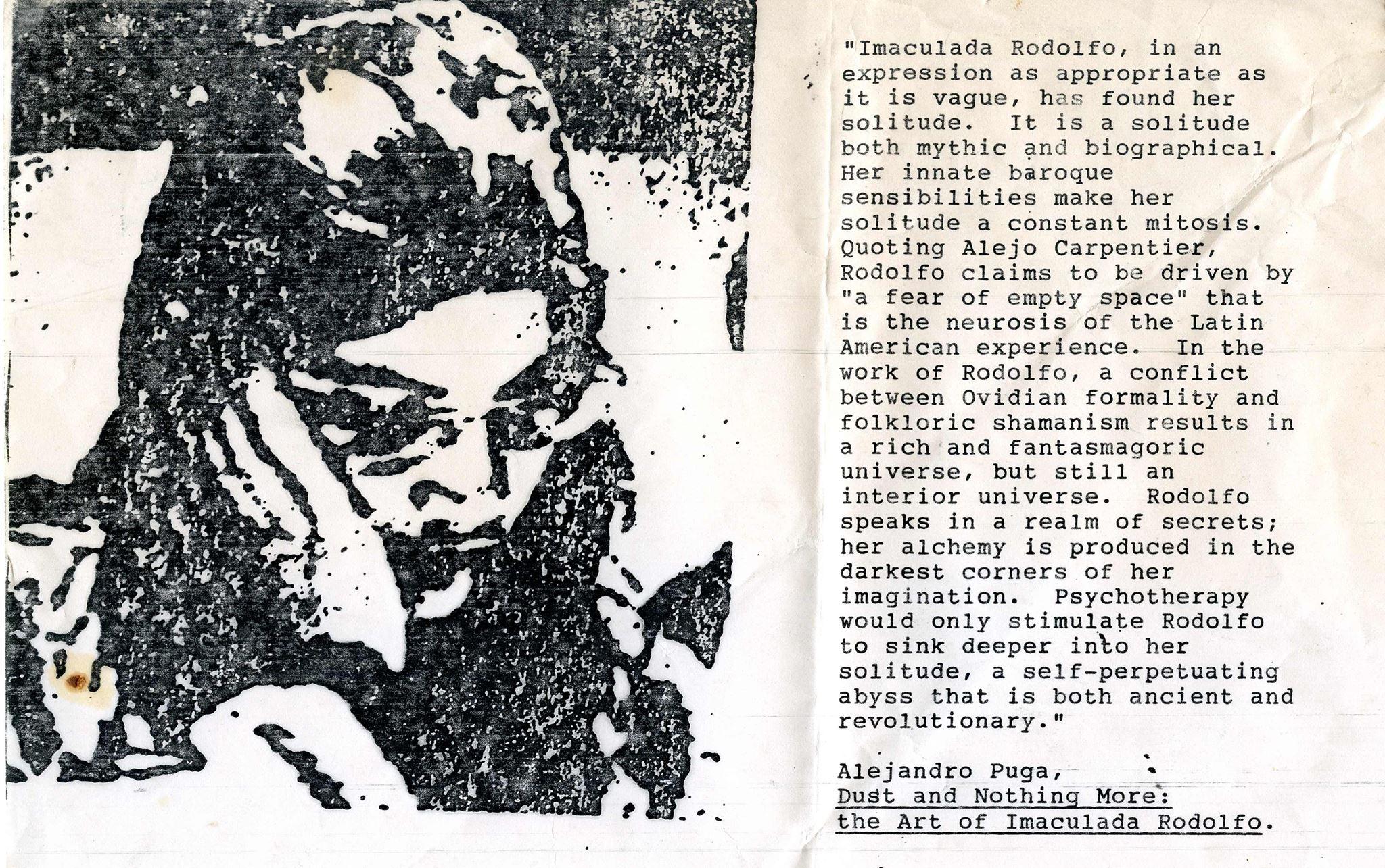 The fictional artist Immaculata Rudolofo (with Alejandro Puga, 1997-1998)