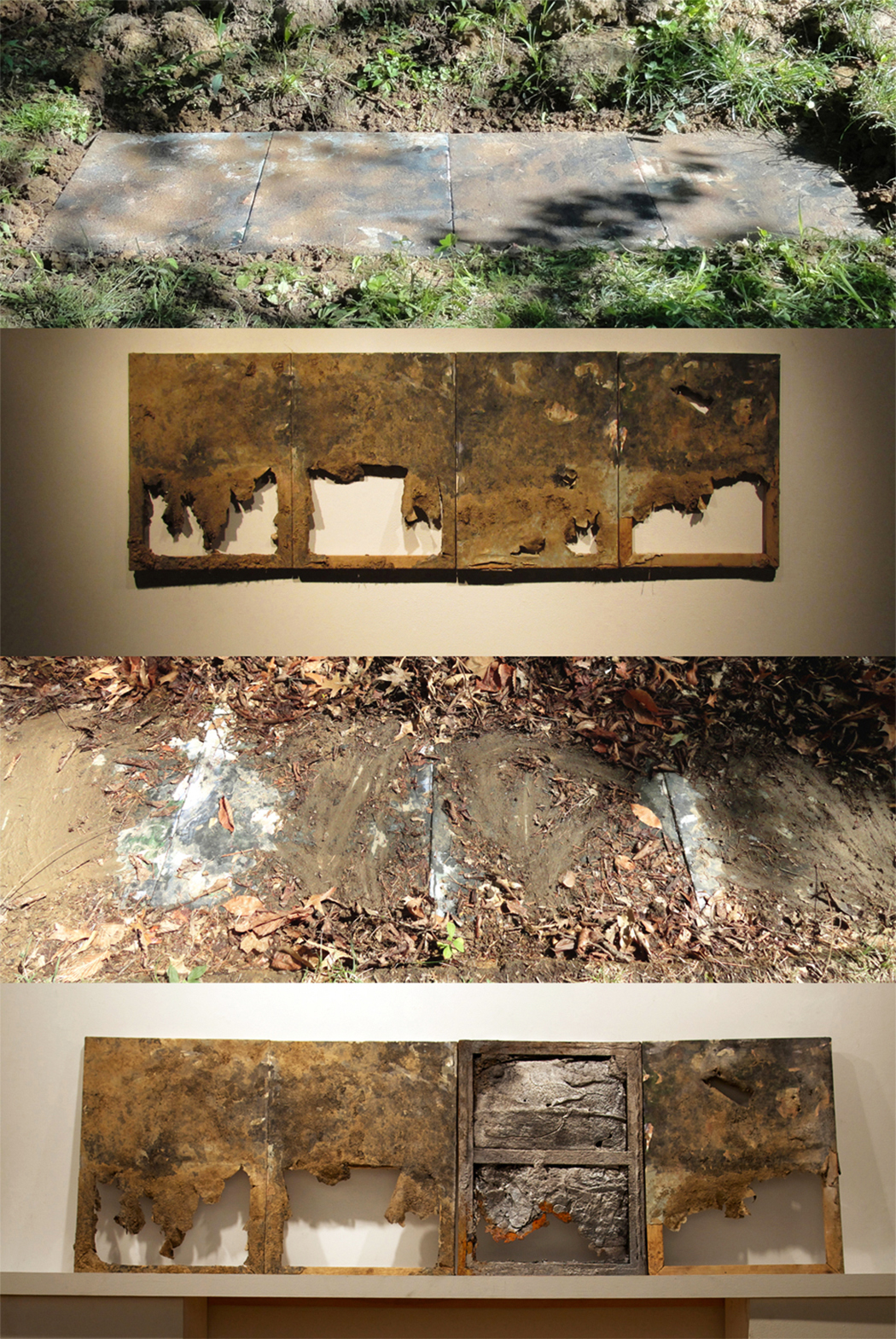 Dead Paintings VI    Paintings buried in the earth for eight months, exhumed, with one panel used to create an iron mold (2012-2014).