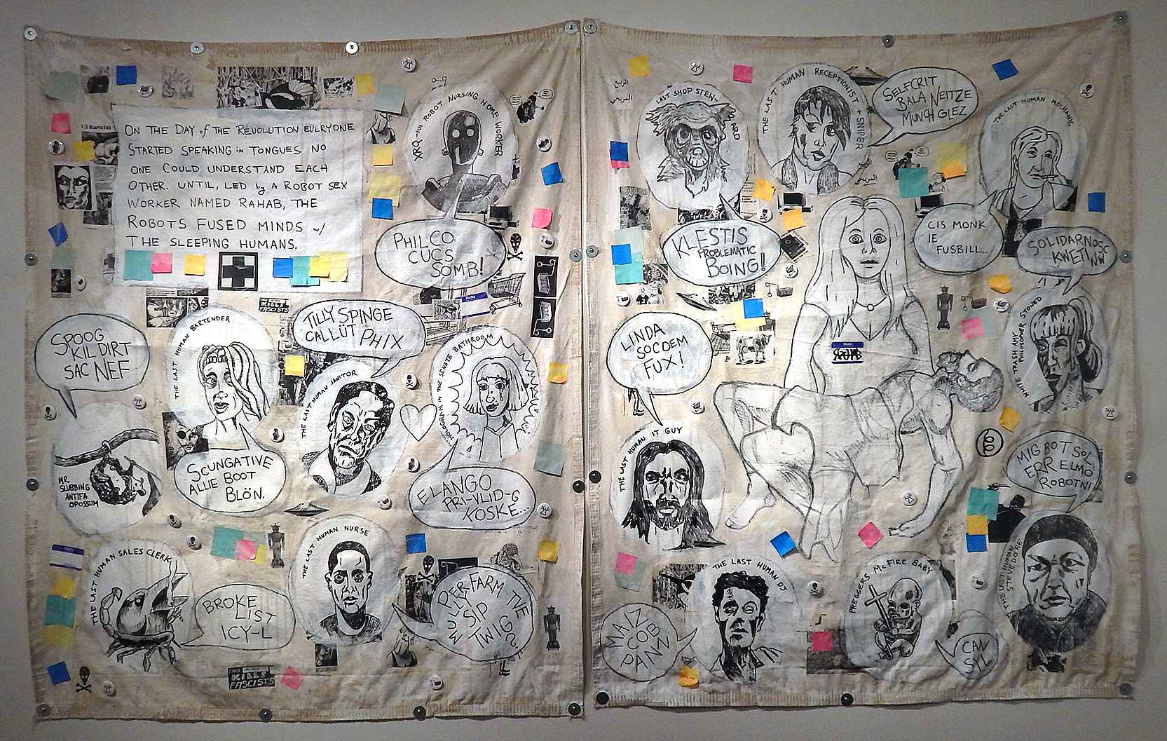 Rahab (Revolt of the Swivel Chairs)    Acrylic, stickers, marker, photocopies, post-it notes, buttons, coffee and mixed media on canvas tarps (2017-2018)