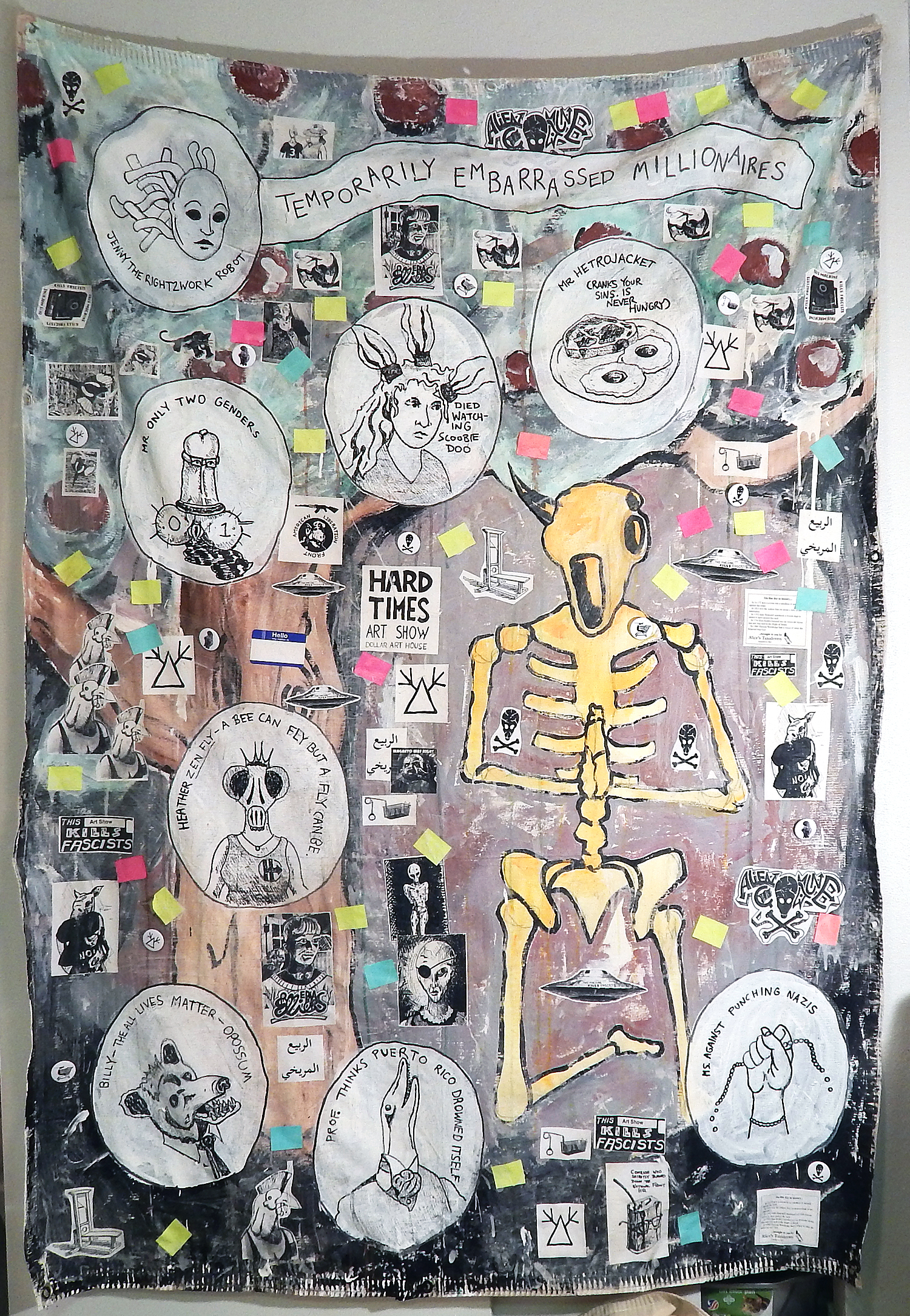 Temporarily Embarrassed Millionaires (Revolt of the Swivel Chairs)    Acrylic, stickers, marker, photocopies, post-it notes, buttons, coffee and mixed media on canvas tarp (2017)