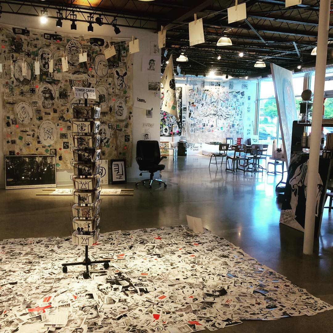 Spilled Kiosk / Image Picking , by Adam Turl. Stickers, post-card display, cards. ( The Barista Who Disappeared , 2018)