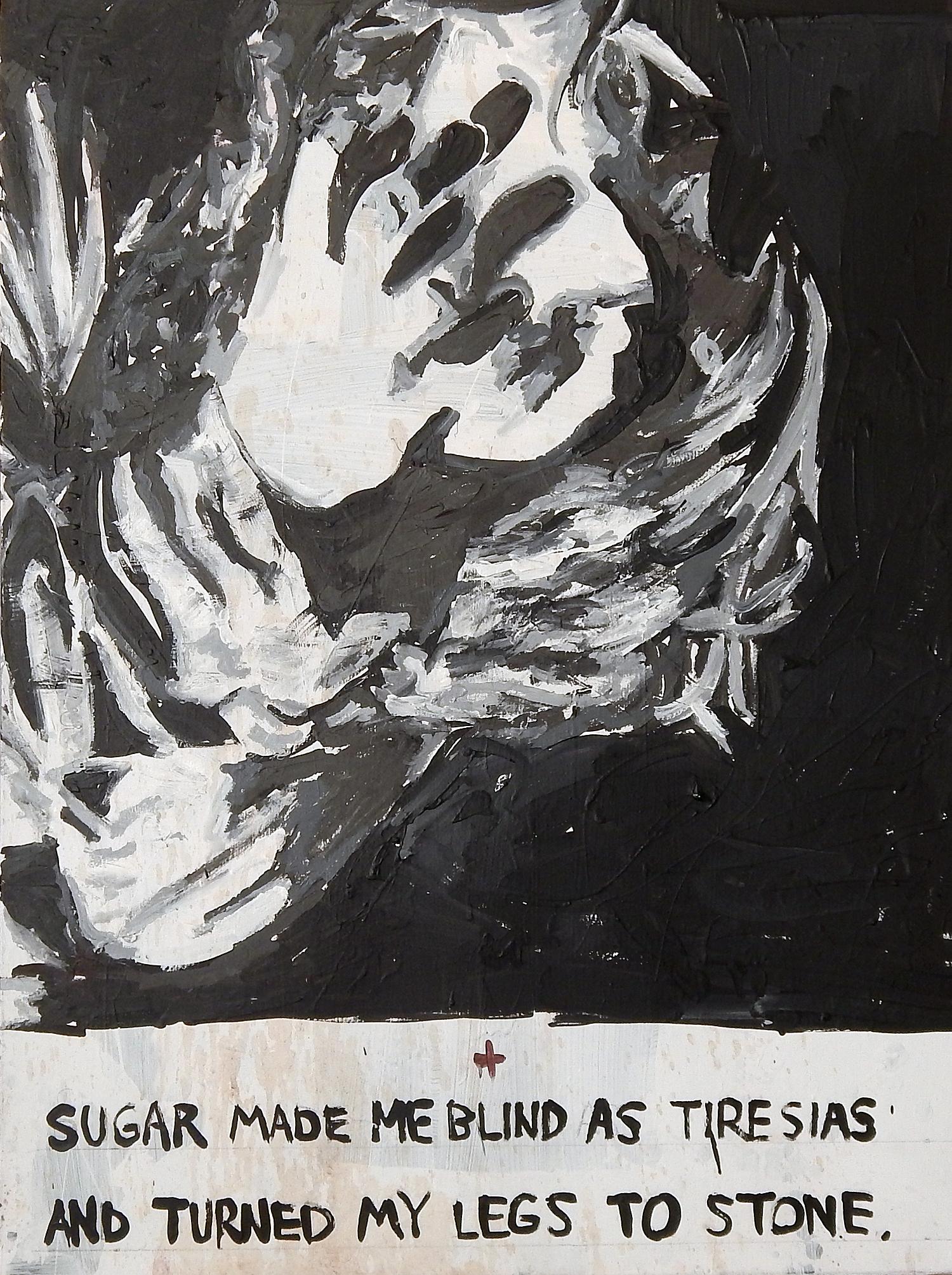 Medusa of Old Town Liquors  (13 Baristas). Acrylic, coffee and gum on canvas (2015). (Adam Turl)