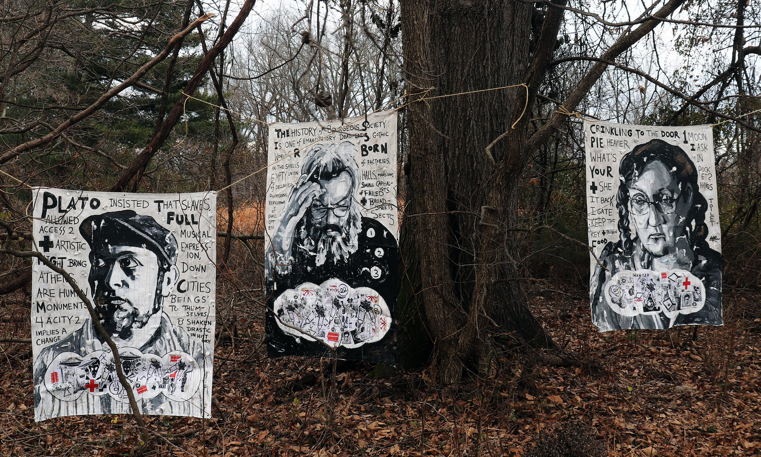 Paintings to Exhibit at the End of the World,  by Adam Turl. Acrylic, cotton, stickers, graphite, coffee and mixed-media on canvas tarps hung in the woods. (2018-2019)