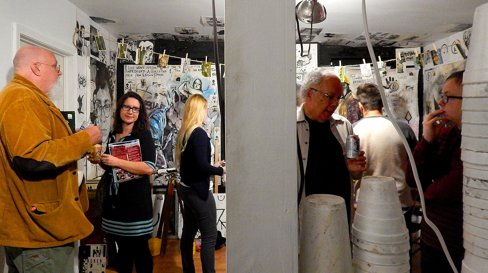 Hard Times Art Show II with Richard Reilly, Sarah Hermes Griesbach, Buzz Spector, at the Dollar Art House (2016).