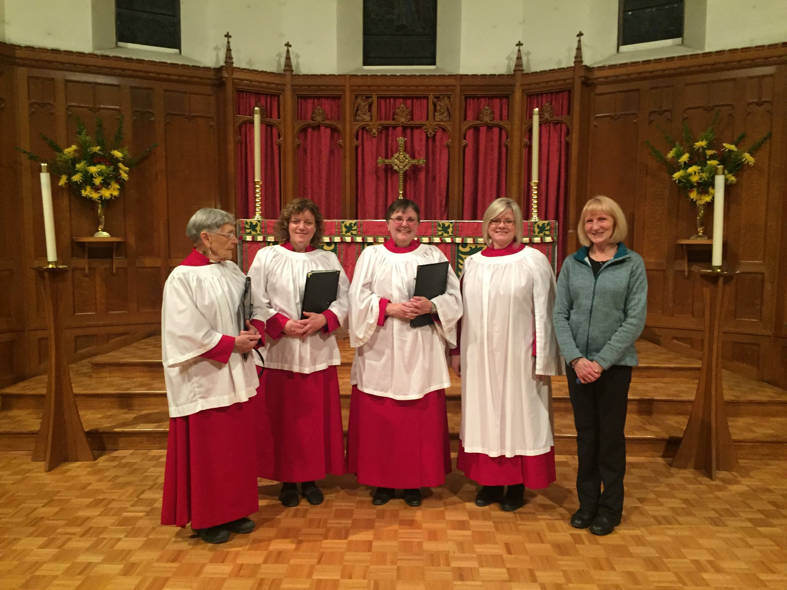 Some of our visitors from St. Augustine's, Lethbridge. Three choir members, with Joan Collier, Director of Music (in long surplice) and organist Mary Lee Voort (without robes).