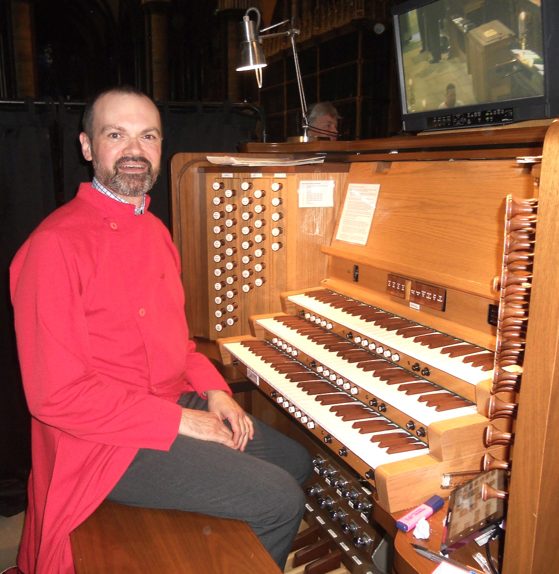 The Director of Music at the Organ Console in Salisbury Cathedral