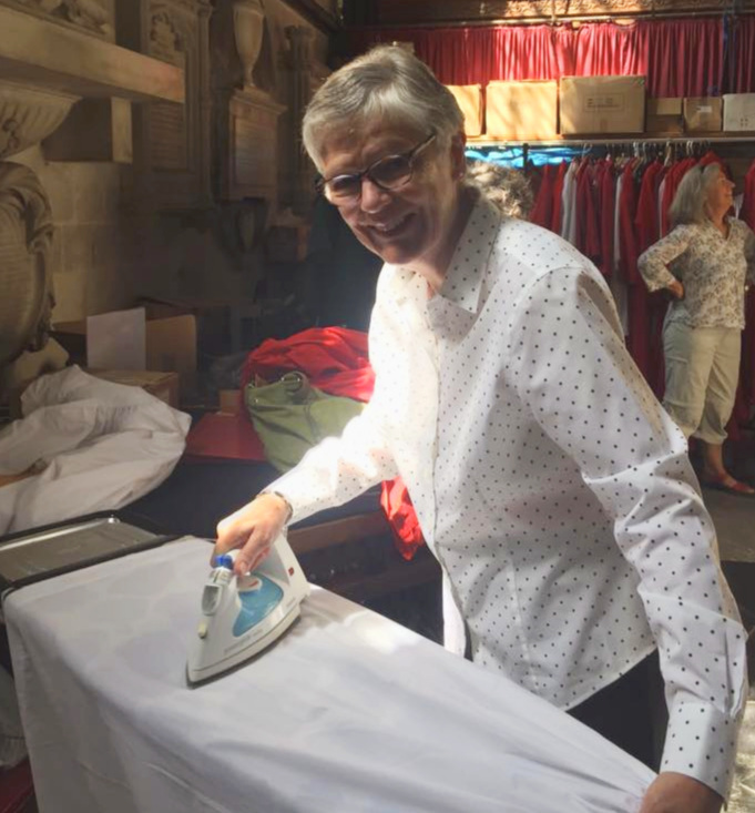 Ironing choir robes at Salisbury!