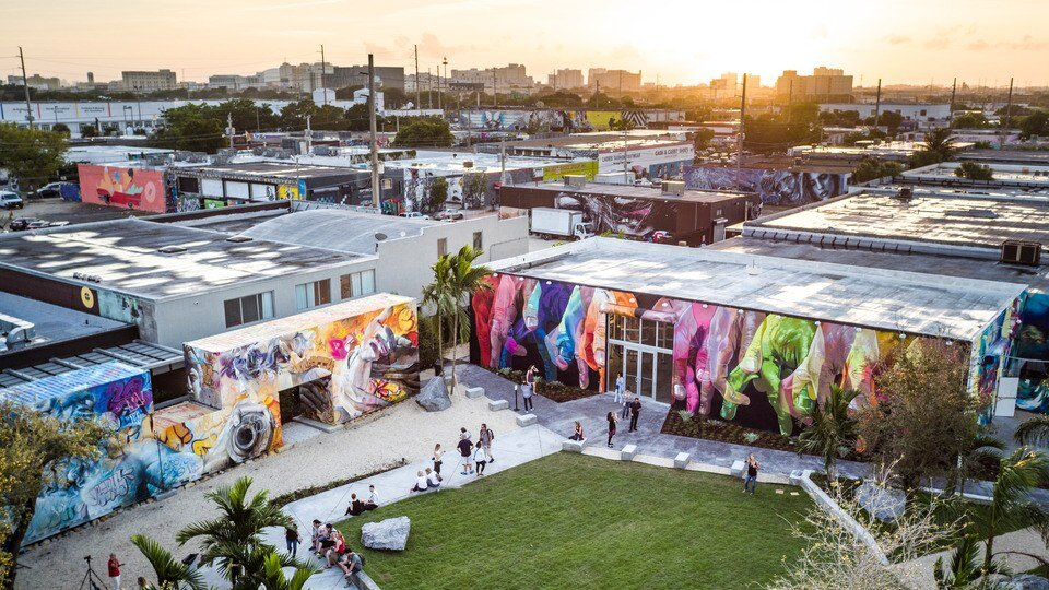 An aerial shot of the Wynwood Walls.Photo by Will Graham. Image courtesy of Wynwood Walls.