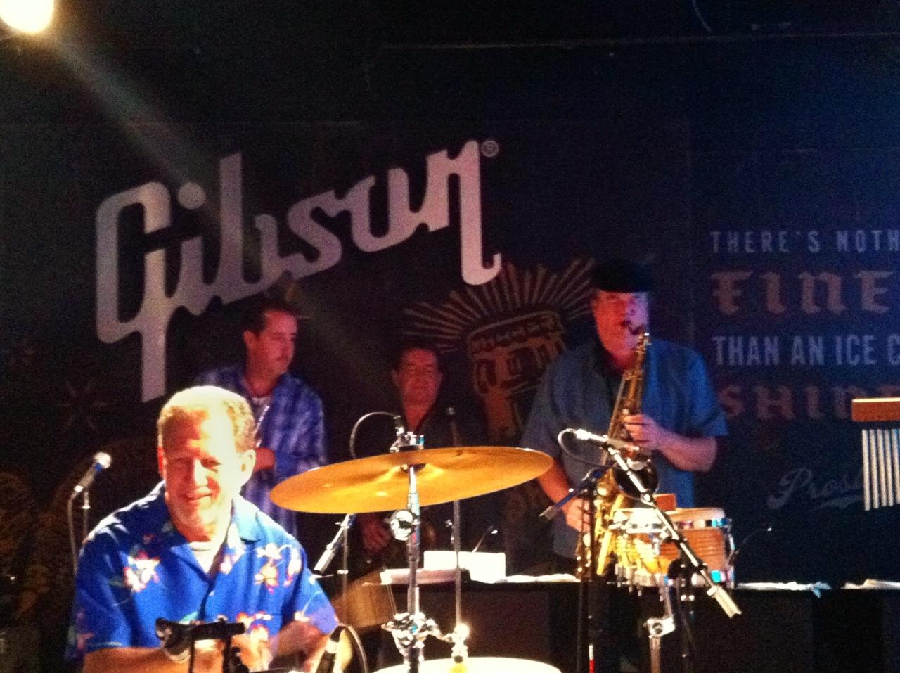 Drummer Steve Summer, with Beto's hornline featuring John Mills, Greg Williams, and Rich Haering.