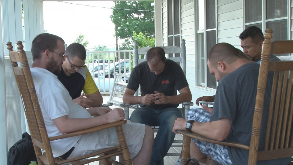 The men here get together twice a week to pray for each other