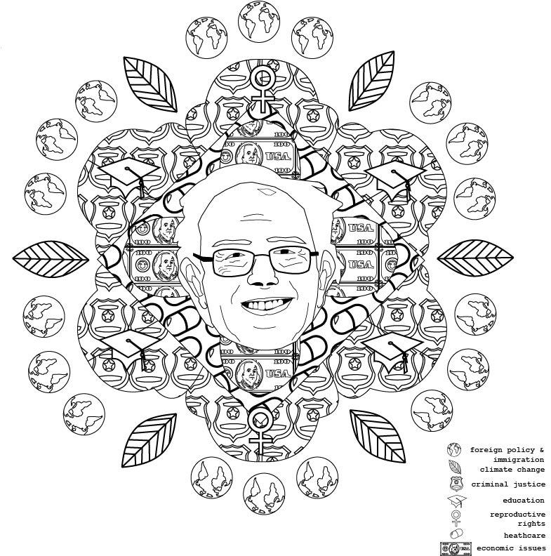 bernie:mediate on politics , 2016. coloring book illustration.