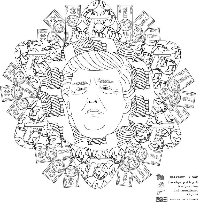 donald:mediate on politics  , 2016. coloring book illustration.