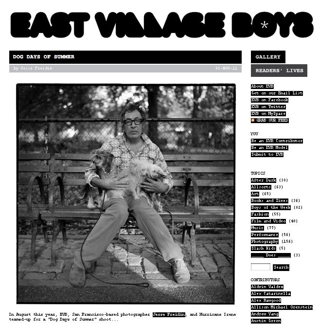 Jesse Freidin Dog Photographer featured on East Village Boys
