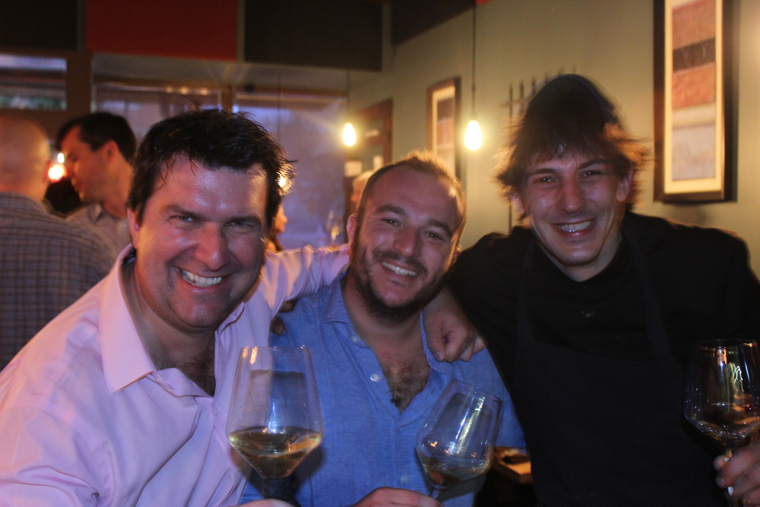 wine merchant, wine producer, and chef together picture