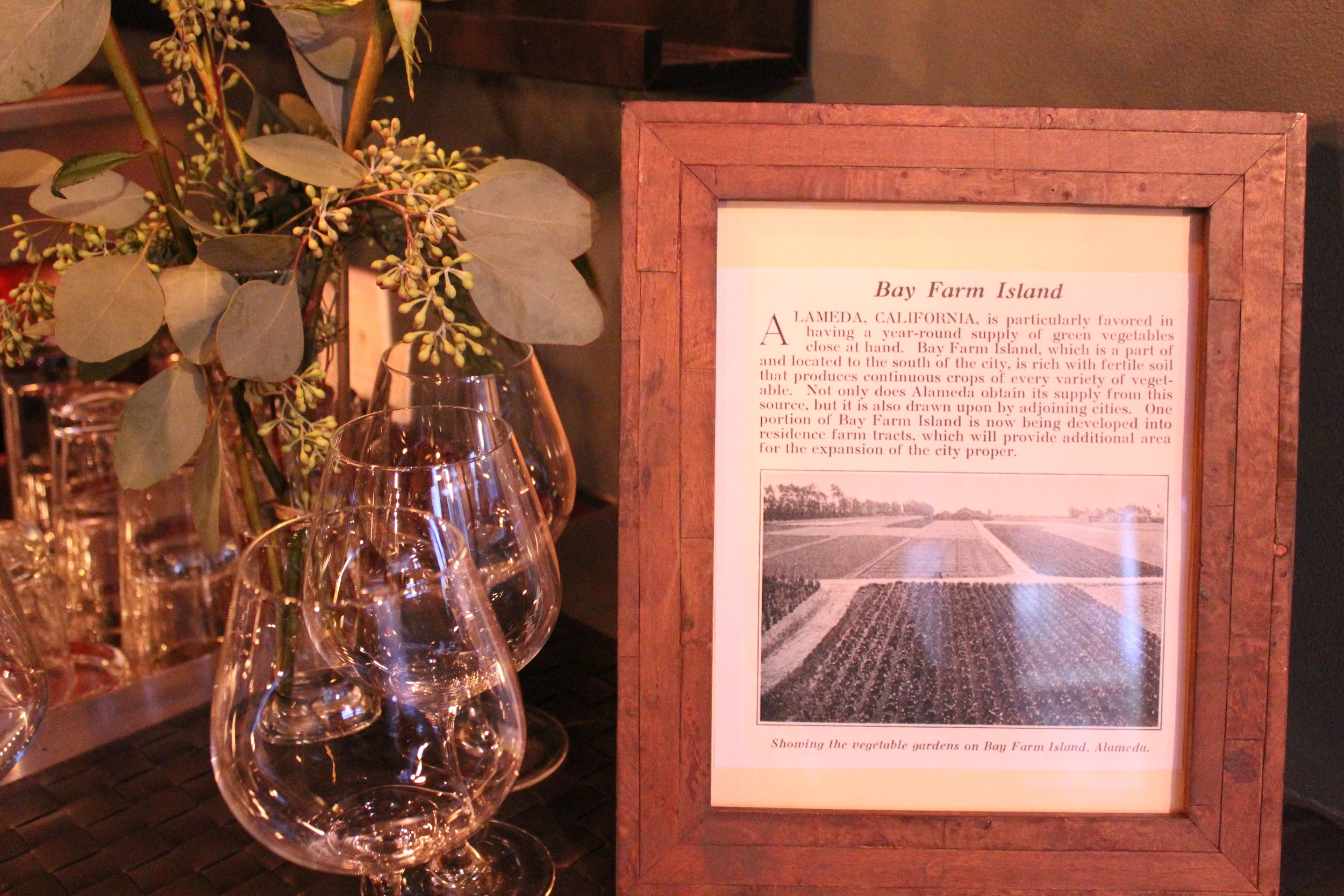 picture of the set up with history of winery
