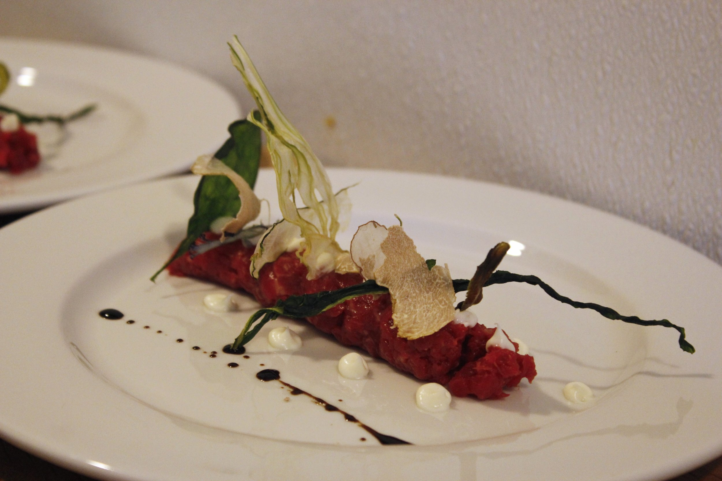 raw beef with olive oil
