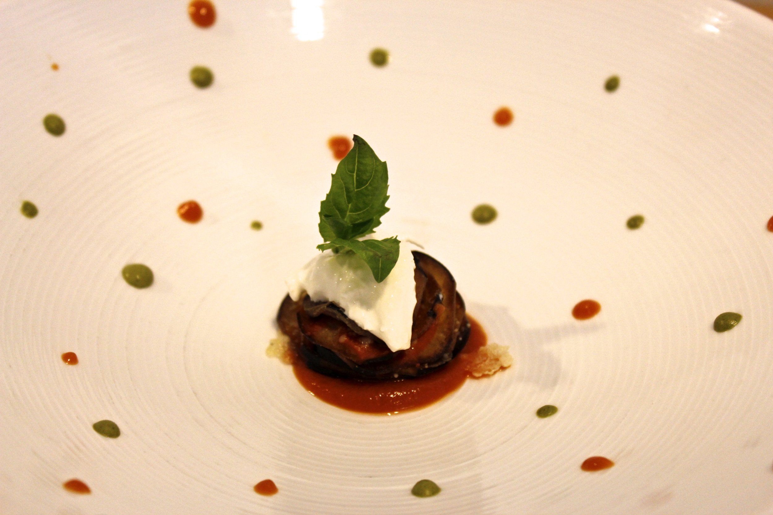 eggplant with marinara sauce and burrata cheese