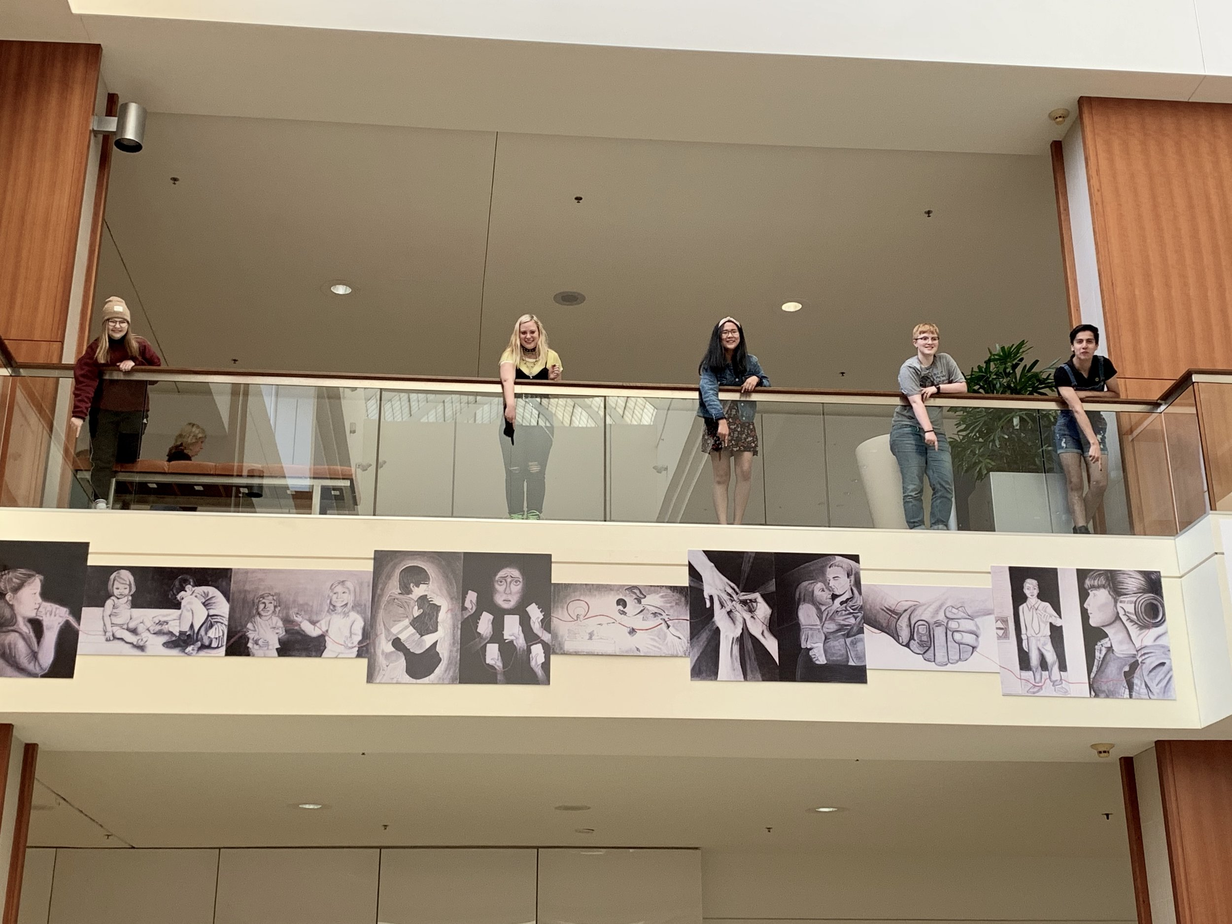 """Seeking Connections"" Charcoal Drawing Collaboration Art Banner and Art Show    Southdale Center  Edina High School  April 2019"