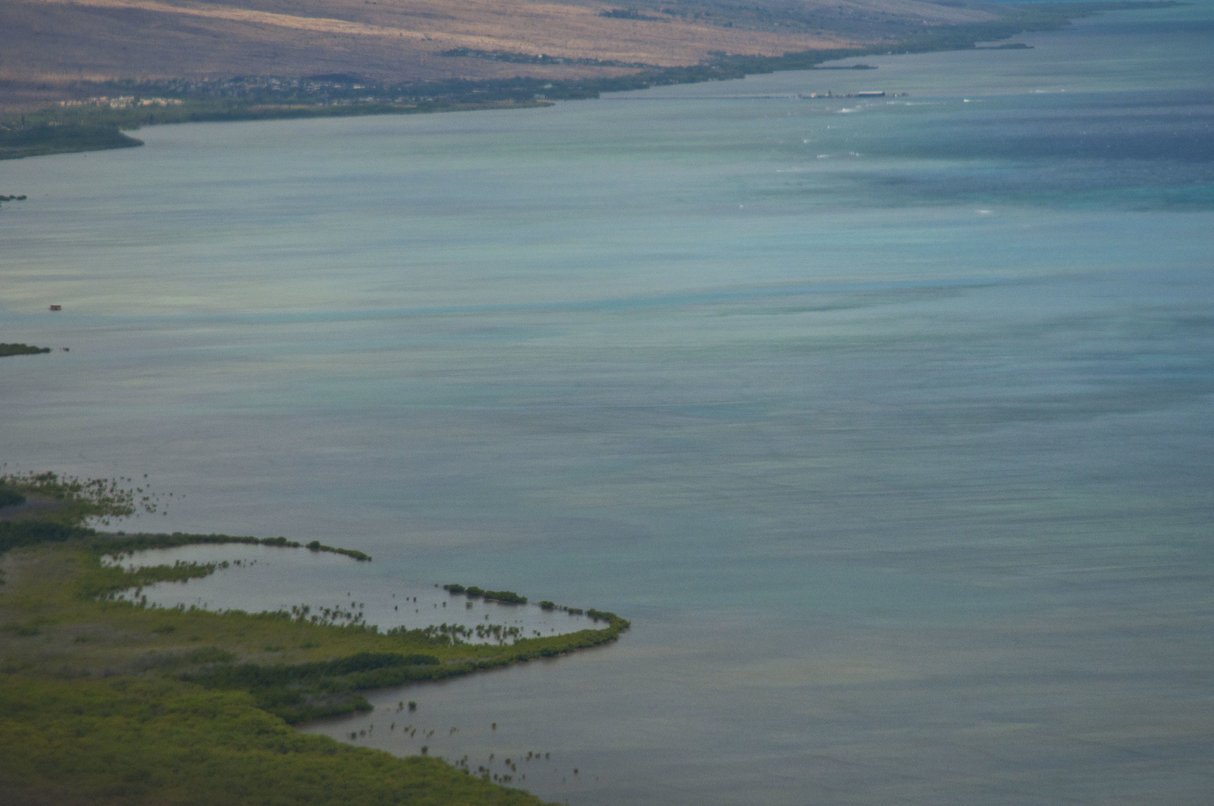 South Shore of Molokai. Waves depict fringing reef. Bonefish flats are inshore of reef.