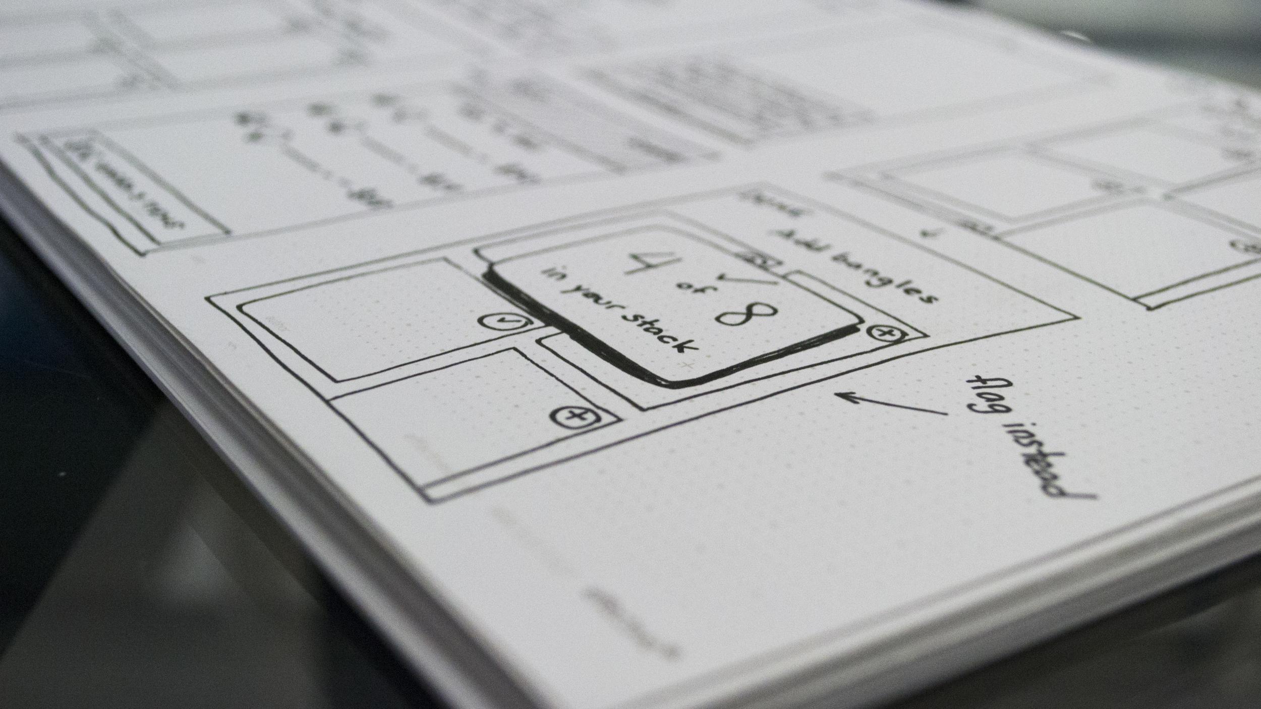 Low-fi sketch wireframes