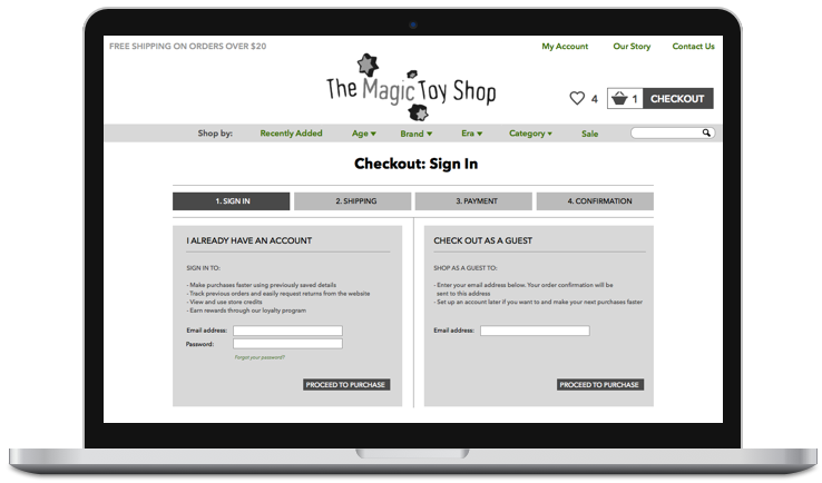 An example of a semi low-fi wireframe I made for an e-commerce site.