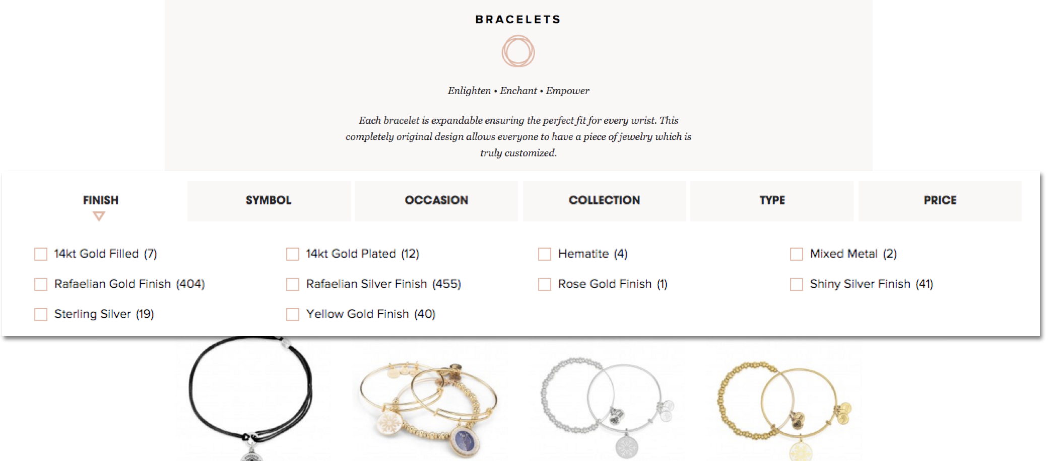 Current filter on the Alex and Ani website.