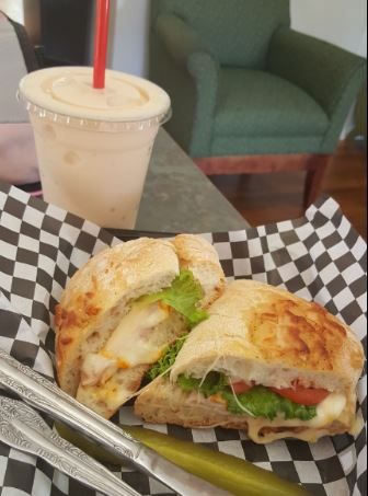 Turkey and Cheese Sandwich with the Caribbean Smoothie
