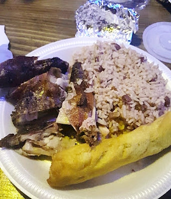 Jerk chicken, rice and peas and festival at Scotchies