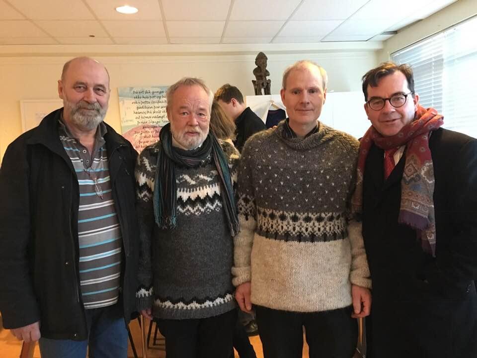 From left: Steindór Andersen, Hilmar Örn Hilmarsson. Páll á Húsafelli, and Hilmar Örn Agnarsson