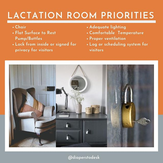 Many Fortune 500 companies are adding all sorts of lactation room amenities; however, this list is what we recommend prioritizing when creating a lactation space for your employees! ⁠ ⁠ While it may not be as exciting as massage chairs or special badge access, we find that most mothers prioritize a functioning, private, well appointed lactation room.⁠ .⁠ .⁠ .⁠ #newmom #breastfeeding #lactationroom #scarypumprooms #momlife #workingmoms #modernmom #pumproom #newborn #nursing #diaperstodesk