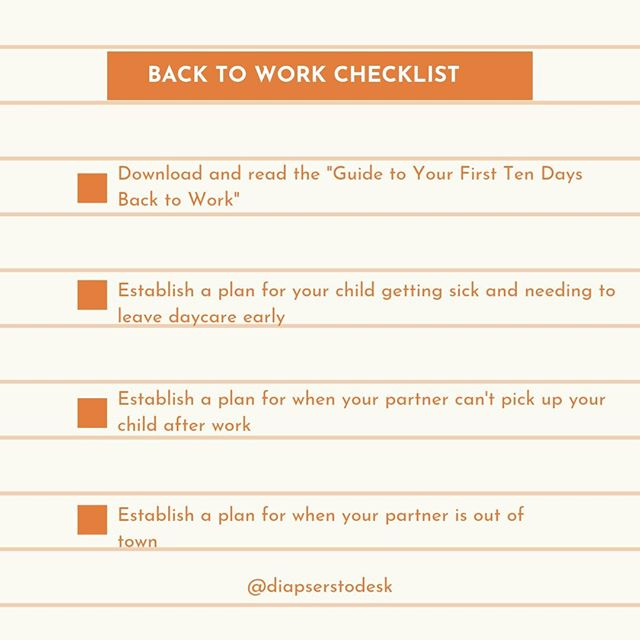 "Here's our back to work checklist! Our ""Guide to Your First Ten Days Back to Work"" helps you plan your transition back to work (link in bio). Also, we recommend making a plan for what you'll do when the unexpected arrives since you're less likely to be shaken when it inevitably happens!⁠ .⁠ .⁠ .⁠ #plan #planning #backtowork #diaperstodesk #maternityleave #work #girlboss #mumlife #worklifebalance #workingmother #thejuggleisreal"