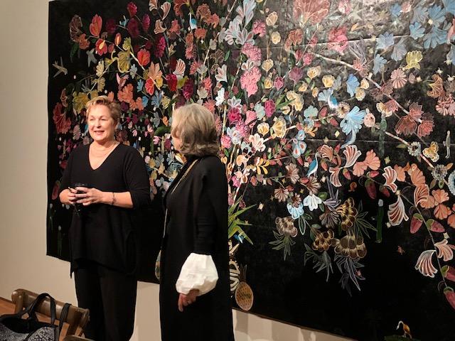 Kim Weinberger (left) introducing Nancy Friedemann-Sánchez (right) & her piece, Cornucopia #3