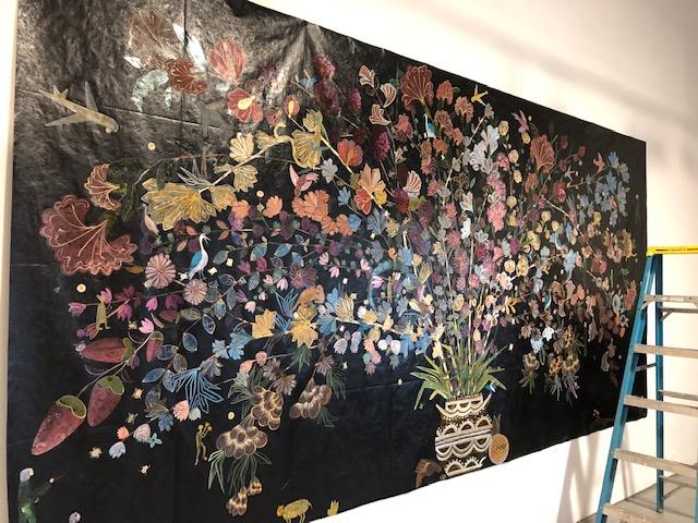 "At Fiendish Plots Art Studio (Lincoln, Nebraska), when Friedemann-Sánchez was finishing  up ""Cornucopia #3"" before sending it to the Weinberger Art Gallery in Kansas City, MO"