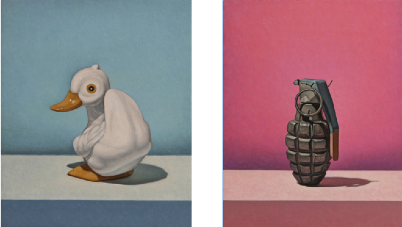 Left:  Little Duck,  oil on panel, 12.5 x 10 in. Right:  Pink Grenade,  oil on panel, 22.5 x 17. 5 in.