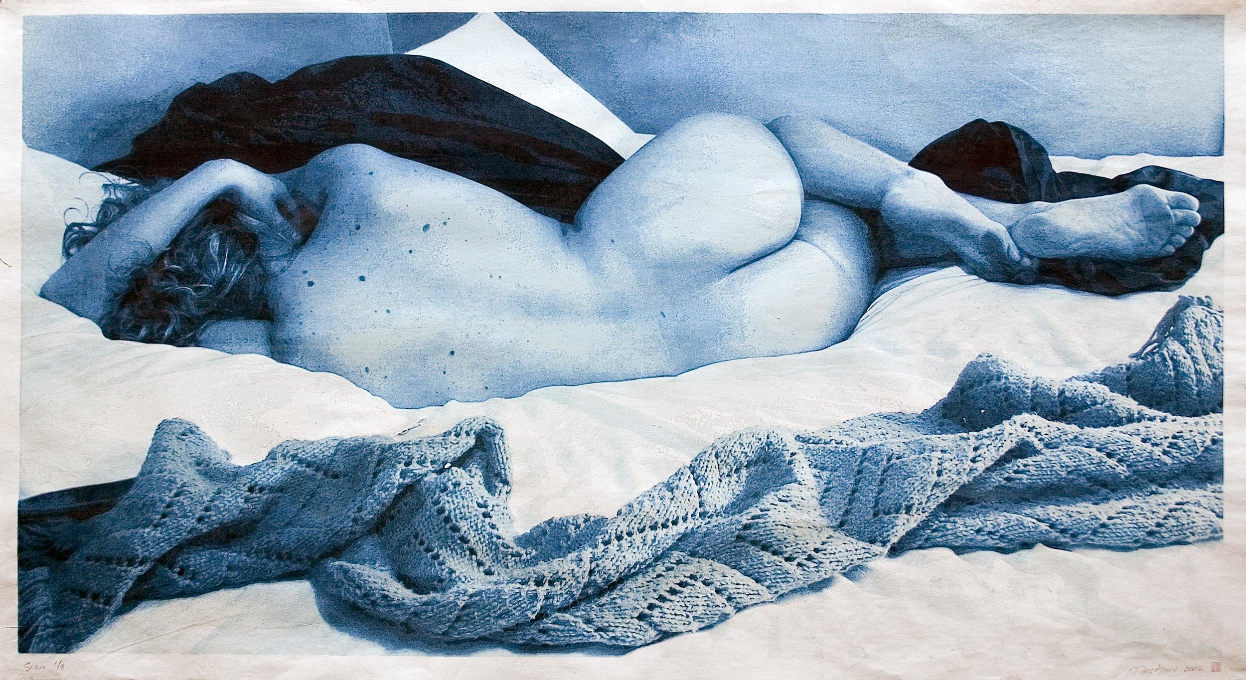 """Sara Reclining,"" Japanese woodcut, 42 x 77 inches"