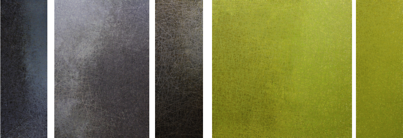 Left, right :  Grey 12  ,  Grey 13, Metallic Buzz, Bendable, Lime 11,  acrylic on panel with resin - 12/24/12/36/12 X 36