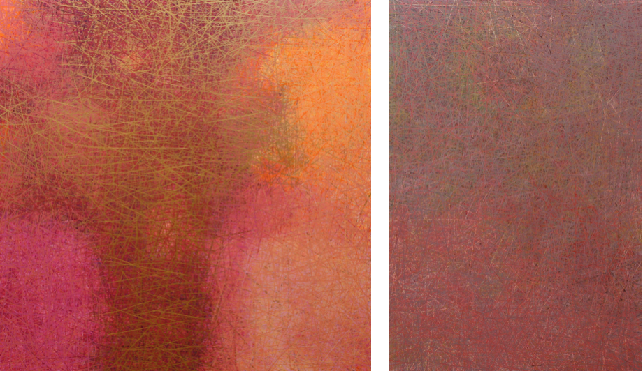 Left:  Talking to Angels , acrylic on panel with resin, 36x36 Right:  Mother's Song , acrylic on panel with resin, 24x36