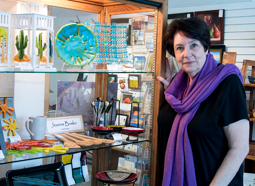Jeanne Bosko's Glass Art is available at the Artisans' Co-op.