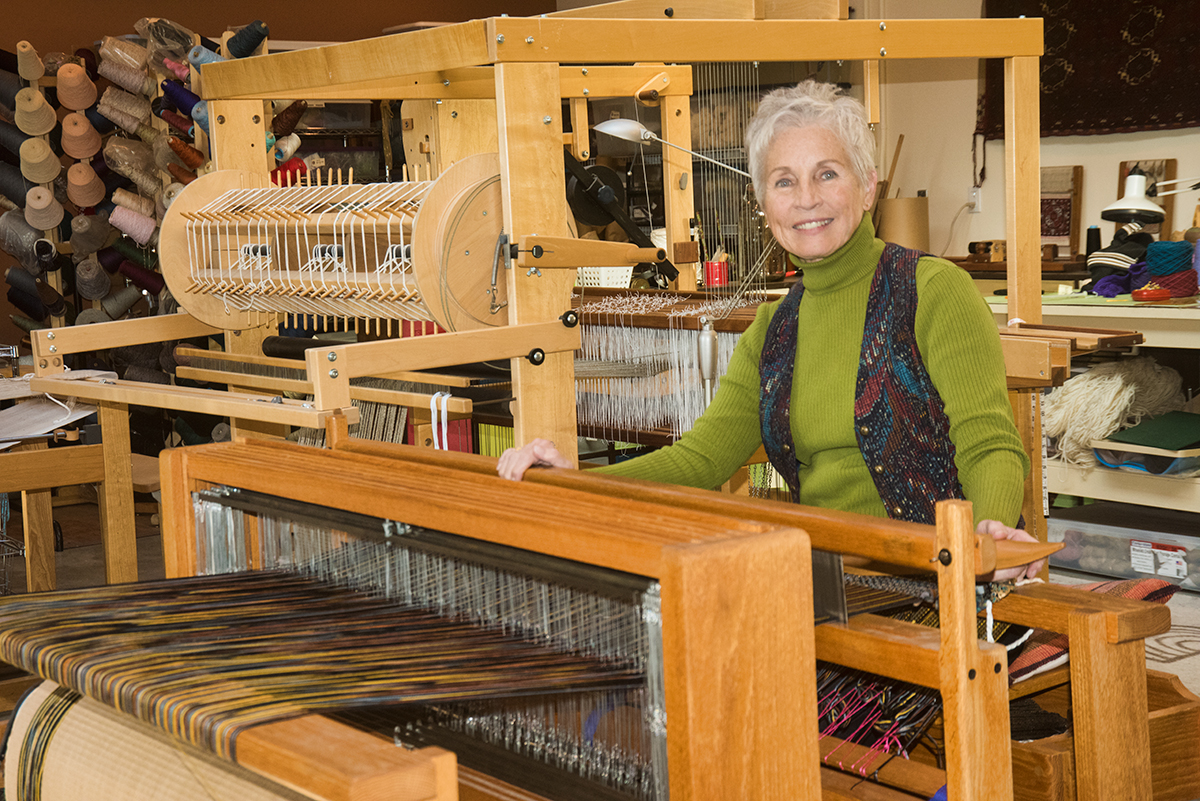 Judy Fisher's Clothes, and Scarves are available at the Artisans' Co-op.