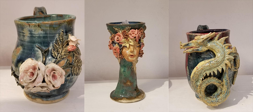 Geraldine Duncan's Pottery is available at the Artisans' Co-op.