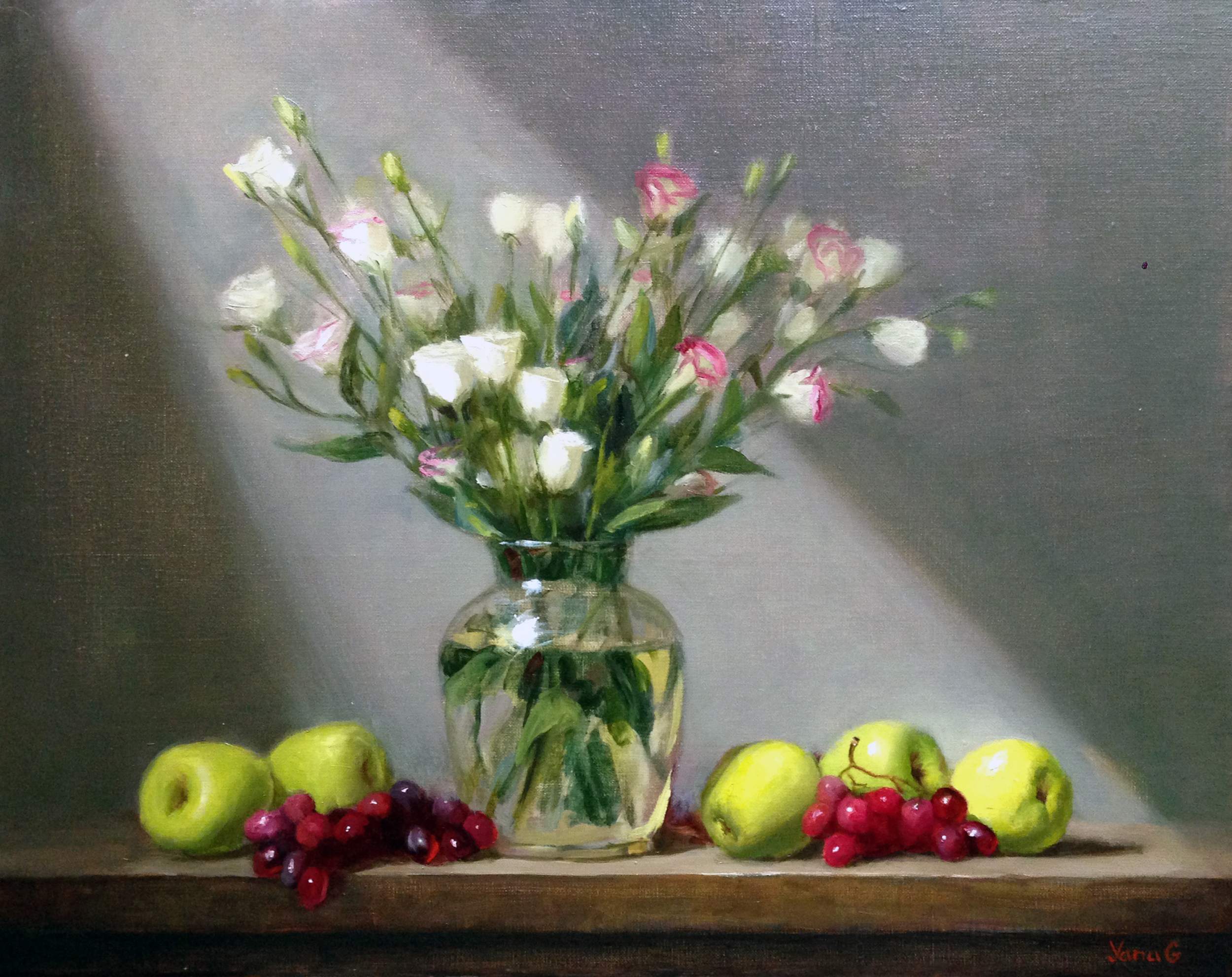 Still life with flowers, apples and grapes 16x20 oil on linen