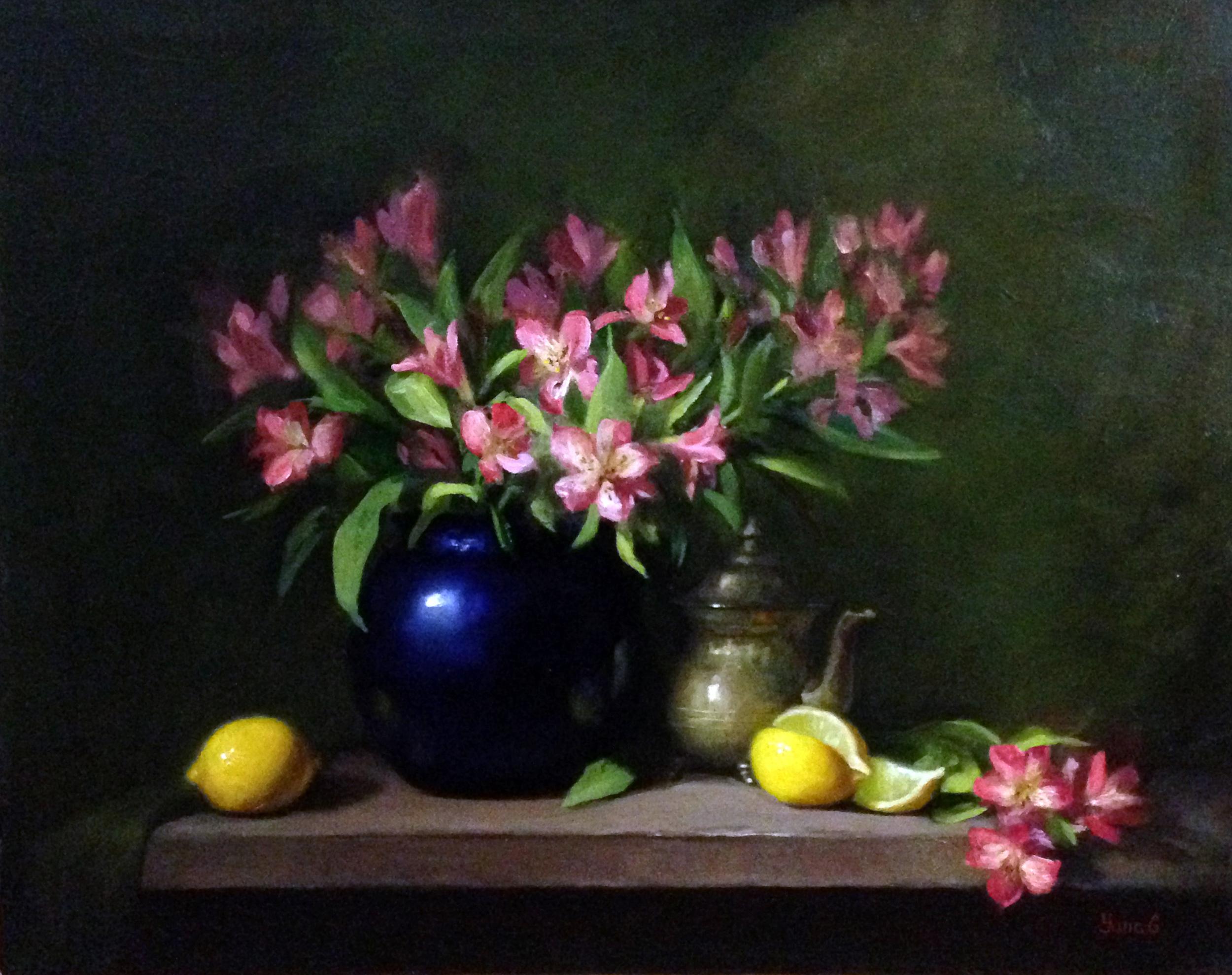Alstroemeria and lemons 16x20 Oil on canvas