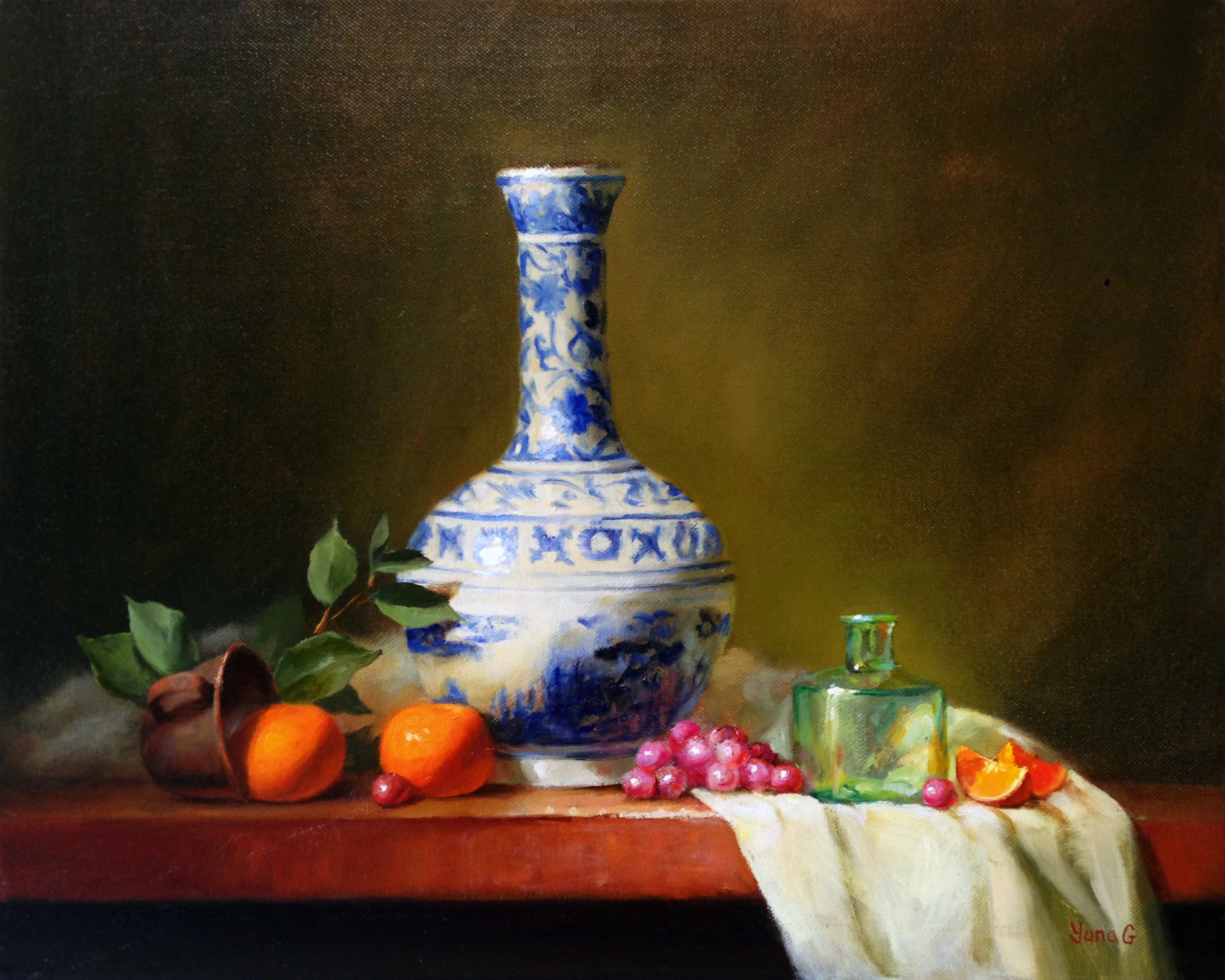 Still Life with Tall Vase 16x20 oil on canvas