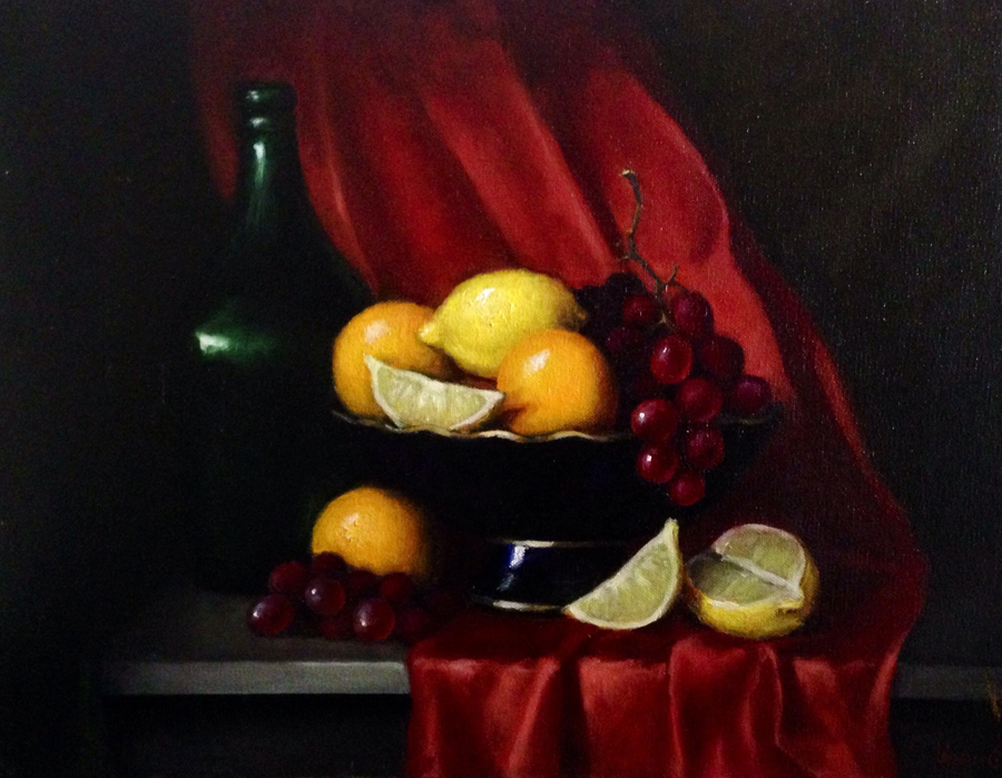 Fruit bowl 14x18 Oil on canvas