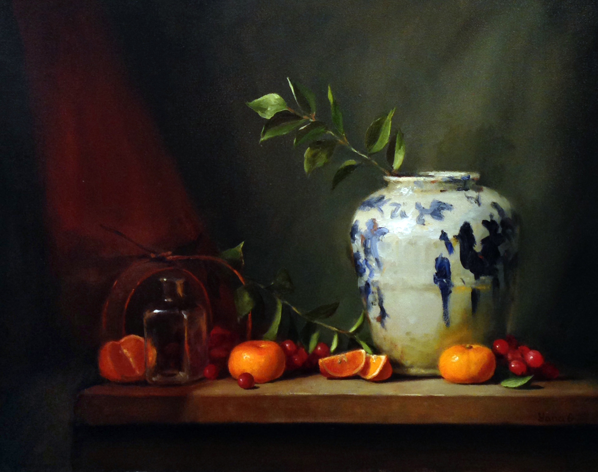 Still Life with Chinese vase 16x20 Oil on canvas
