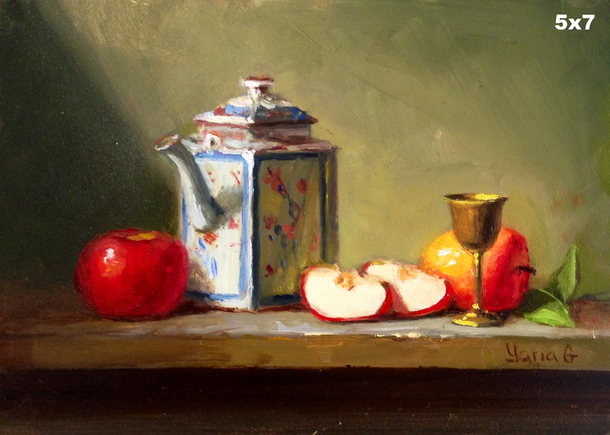 Tea pot and apples 5x7 Oil on board