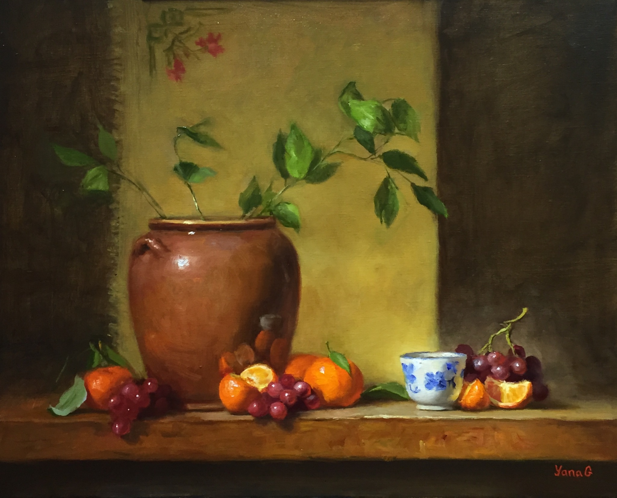Flower Pot and Mandarins Oil on linen 16X20