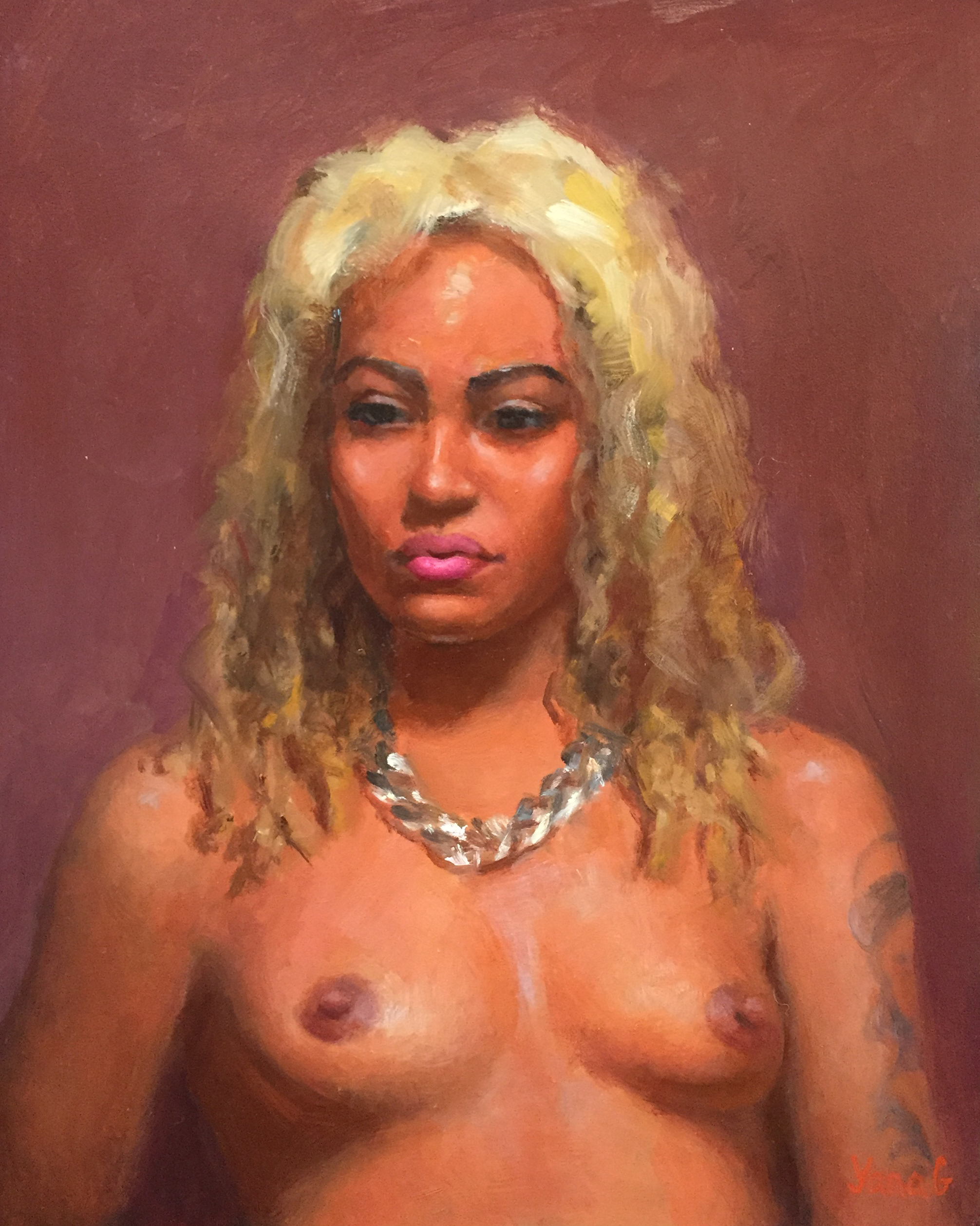Nude with tattoo  8x10 Oil on board